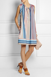 Striped cotton-poplin dress
