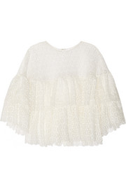 Ruffled crocheted lace top
