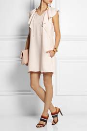 Grosgrain-trimmed ruffled cady mini dress