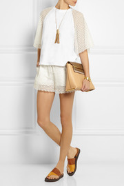 Chloé Cotton-jersey and crocheted lace top