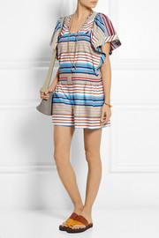 Striped cotton-poplin playsuit