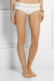 Chloé Lace-up crocheted lace briefs