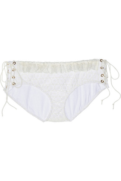 Lace-up crocheted lace briefs