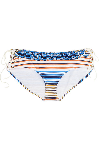 Lace-up striped cotton briefs