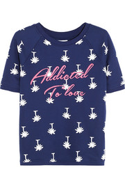 Addicted To Love embroidered printed cotton-blend jersey top