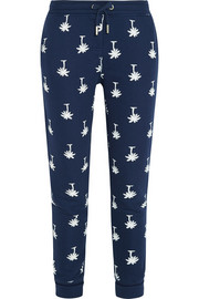 Printed cotton-blend jersey track pants