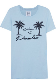 Welcome To Paradise printed cotton and modal-blend T-shirt