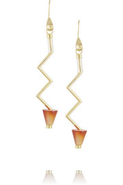 Zig Zag gold-plated, carnelian and acrylic earrings