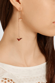 Pyramid Pendulum rose gold-plated, agate and quartz earrings