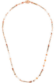 Plinth rose gold-plated multi-stone necklace