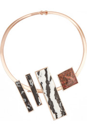 Composition Collar rose gold-plated jasper necklace