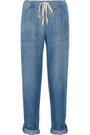Wilder washed-chambray straight-leg pants