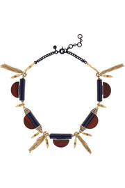 J.Crew Gold-tone, wood and crystal necklace