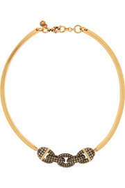 J.Crew Chain Bar gold-tone crystal necklace