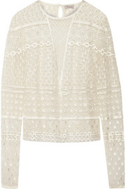 Embellished embroidered tulle top