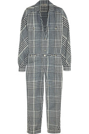 Checked linen and cotton-blend jumpsuit