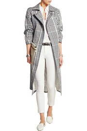 Checked linen and cotton-blend trench coat