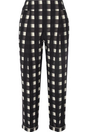 Checked cotton tapered pants
