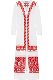 Temperley London Embroidered cotton and silk-blend voile maxi dress