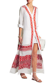 Embroidered cotton and silk-blend voile maxi dress