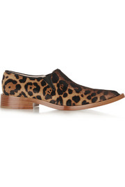 Victoria Beckham Leopard-print calf hair point-toe flats