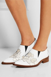 Floral-appliquéd leather point-toe flats