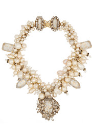 Pearl Jam gold-plated, Swarovski crystal and faux pearl necklace