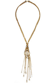 Stratosphere gold-plated, Swarovski crystal and faux pearl necklace