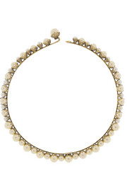 Pearly Queen gold-plated Swarovski faux pearl choker