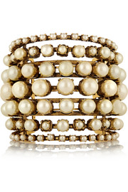 Erickson Beamon Stratosphere gold-plated faux pearl cuff