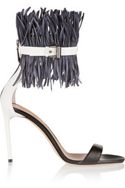 Feather-embellished patent-leather sandals