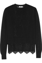 Erdem Signe layered cotton-blend and lace sweater