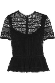 Alma crocheted lace peplum top