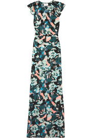Rylie floral-print washed-silk gown