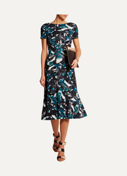 Vanya printed stretch-ponte midi dress