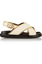 Canvas and metallic leather sandals