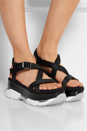 Canvas and patent-leather platform sandals