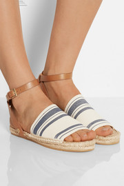 Striped canvas and leather espadrilles