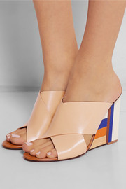 Tory Burch Color Cube leather and acrylic wedge sandals