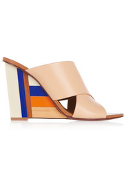 Color Cube leather and acrylic wedge sandals