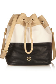Tri-tone leather bucket bag