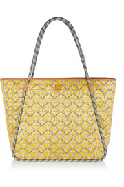 Mosaic woven straw tote