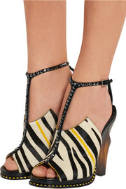 Kascade calf hair and leather T-bar sandals