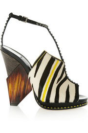 Jimmy Choo Kascade calf hair and leather T-bar sandals