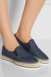 Textured-denim espadrille slip-on sneakers