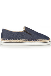 Jimmy Choo Textured-denim espadrille slip-on sneakers