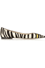 Embellished zebra-print calf hair point-toe flats