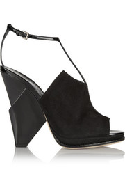 Jimmy Choo Kascade suede and patent-leather wedge sandals
