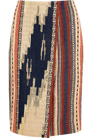 Collection Alto metallic Ikat jacquard wrap pencil skirt