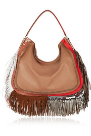 Zoe fringed elaphe-trimmed leather tote
